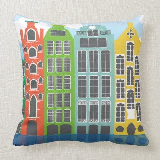"Amsterdam Houses In Colour Throw Pillow 20"" x 20"""