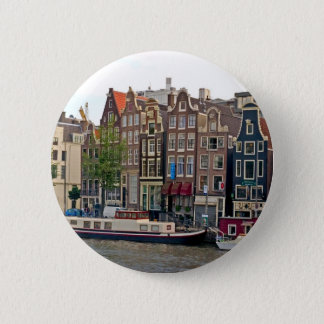 Amsterdam, houses on the canal 6 cm round badge