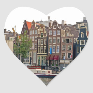Amsterdam, houses on the canal heart sticker