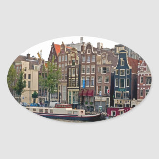 Amsterdam, houses on the canal oval sticker