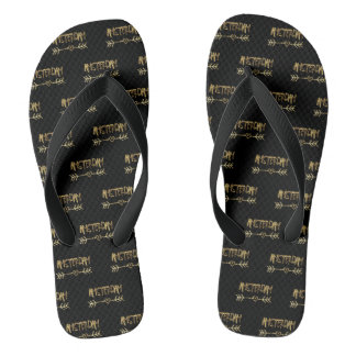 Amsterdam Love Dutch Black and Gold Typography Flip Flops