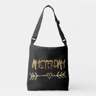 Amsterdam Love Dutch City Gold Typography Elegant Crossbody Bag