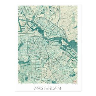 Amsterdam Map Blue Vintage Watercolor Postcard