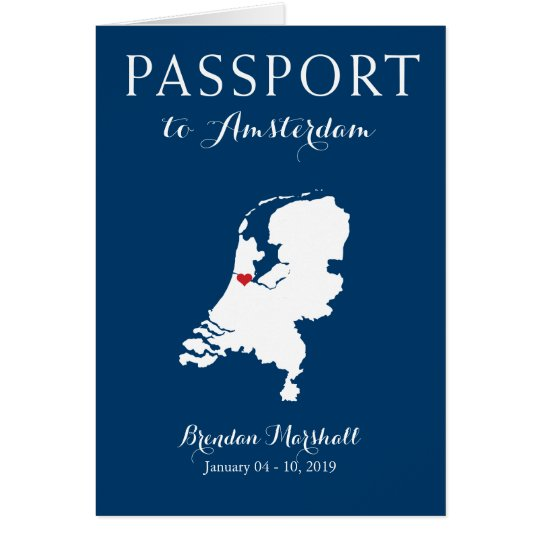 Amsterdam Netherlands Birthday Passport Card