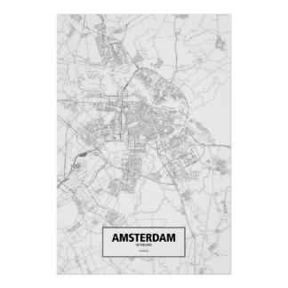 Amsterdam, Netherlands (black on white) Poster