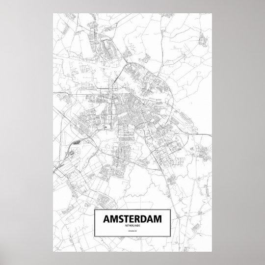 Amsterdam, Netherlands (black on white) Poster