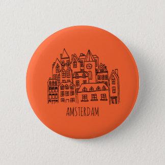 Amsterdam Netherlands Holland City Souvenir Orange 6 Cm Round Badge