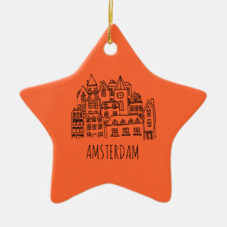 Amsterdam Netherlands Holland City Souvenir Orange Ceramic Star Decoration