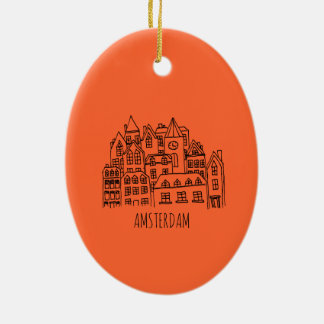 Amsterdam Netherlands Holland City Souvenir Orange Christmas Ornament