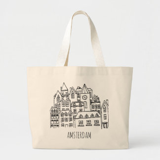 Amsterdam Netherlands Holland City Souvenir Orange Large Tote Bag