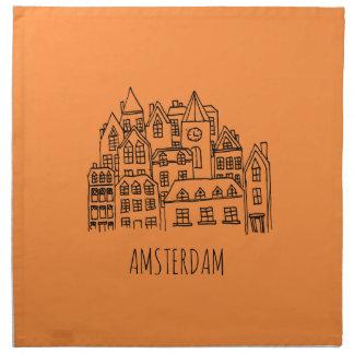 Amsterdam Netherlands Holland City Souvenir Orange Napkin