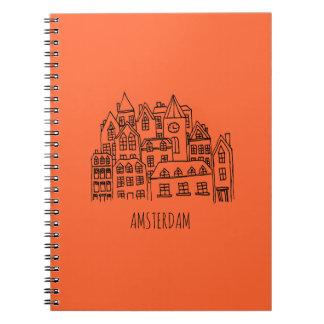 Amsterdam Netherlands Holland City Souvenir Orange Notebook