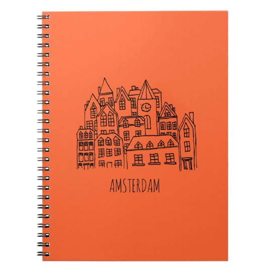 Amsterdam Netherlands Holland City Souvenir Orange Notebook