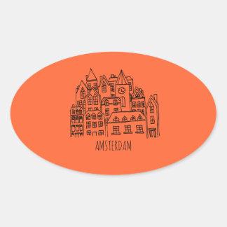 Amsterdam Netherlands Holland City Souvenir Orange Oval Sticker