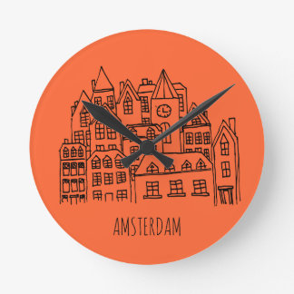 Amsterdam Netherlands Holland City Souvenir Orange Round Clock