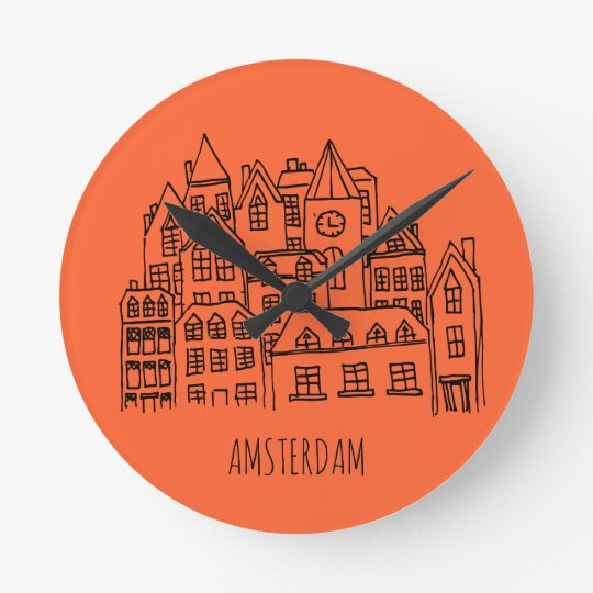 Amsterdam Netherlands Holland City Souvenir Orange Wallclock