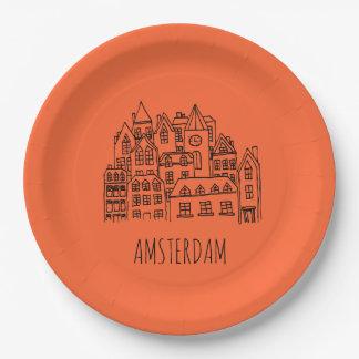 Amsterdam Netherlands Holland City Souvenir Paper Plate