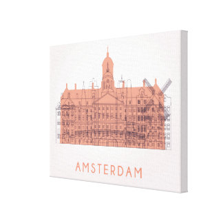Amsterdam, Netherlands | Skyline of Landmarks Canvas Print