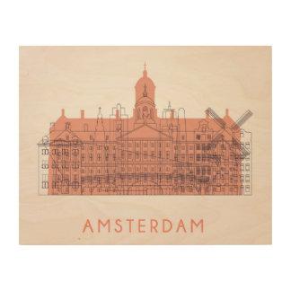 Amsterdam, Netherlands | Skyline of Landmarks Wood Wall Decor