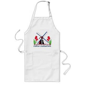 Amsterdam Netherlands Windmill And Tulips Apron