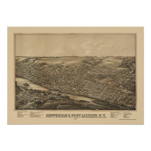 Amsterdam, NY Panoramic Map - 1881 Poster