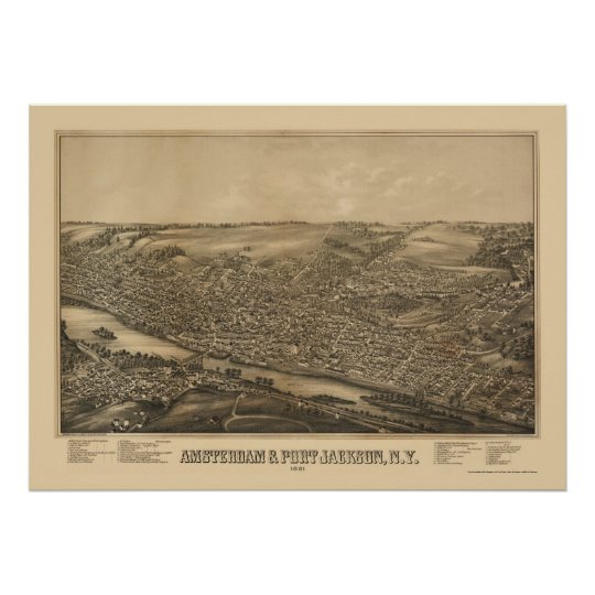 Amsterdam, NY Panoramic Map - 1881 Poster