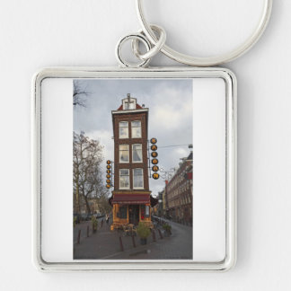 Amsterdam - Petit Saloon Silver-Colored Square Key Ring