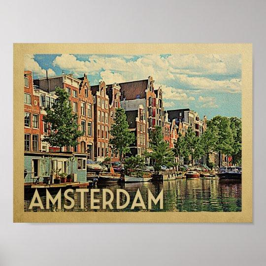 Amsterdam Poster Vintage Travel Print Netherlands