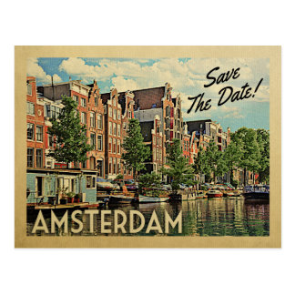 Amsterdam Save The Date Netherlands Holland Postcard
