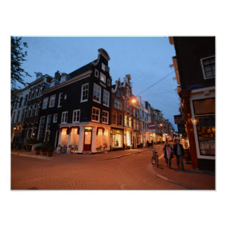 Amsterdam Shops at Dusk Poster