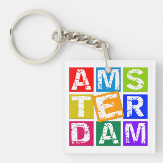 Amsterdam Single-Sided Square Acrylic Key Ring
