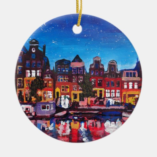 Amsterdam Skyline With Canal At Night Christmas Ornament