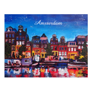 Amsterdam Skyline With Canal At Night Postcard