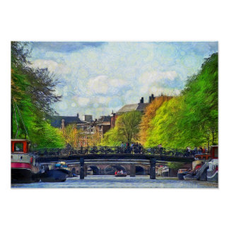 Amsterdam.  View of the Singel Canal Poster