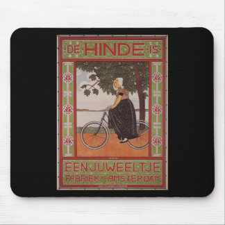 Amsterdam Vintage Bicycle Poster Art Mouse Mat