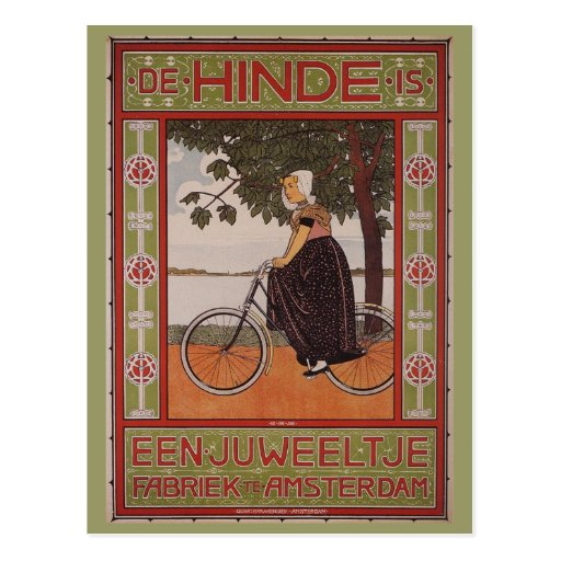 Amsterdam Vintage Bicycle Poster Art Post Card