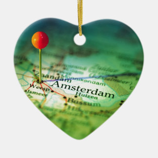 AMSTERDAM Vintage Map Christmas Ornament