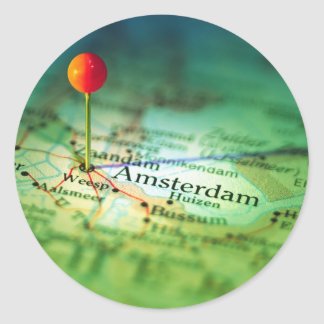 AMSTERDAM Vintage Map Classic Round Sticker