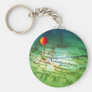 AMSTERDAM Vintage Map Key Ring