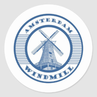 AMSTERDAM WINDMILL BLUE CLASSIC ROUND STICKER