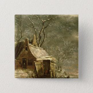 Amsterdam, winter scene, 17th century 15 cm square badge
