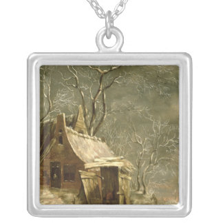 Amsterdam, winter scene, 17th century silver plated necklace