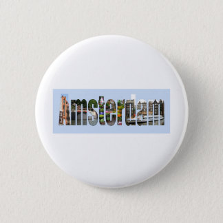 Amsterdam with tourist sights in letters 6 cm round badge