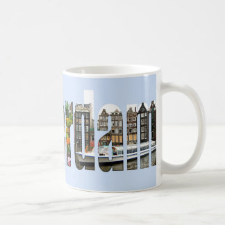 Amsterdam with tourist sights in letters classic white coffee mug