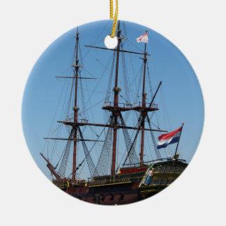 Amsterdam wooden sail ship VOC - Range Round Ceramic Decoration