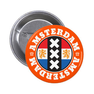 Amsterdam XXX City Symbol with Dutch Flag 6 Cm Round Badge