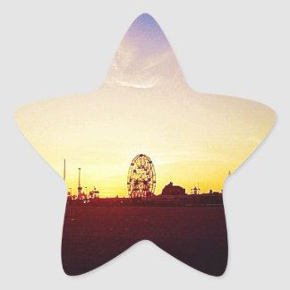 Amuesment Park Sunset Star Sticker