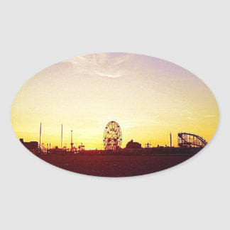Amuesment Park Sunset Oval Stickers