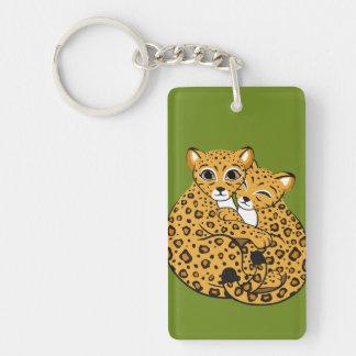 Amur Leopard Cubs Cuddling Art Double-Sided Rectangular Acrylic Key Ring