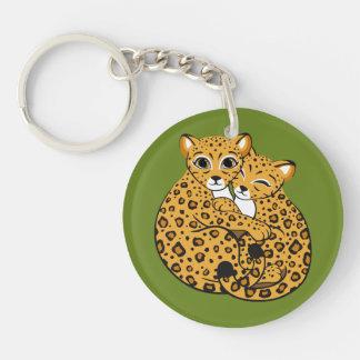Amur Leopard Cubs Cuddling Art Double-Sided Round Acrylic Key Ring